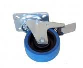 koło tworzywo-guma fi 100mm w obudowie skrętnej z hamulcem